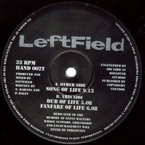 "Leftfield – Song Of Life Hard Hands 1992 12"" Vinyl"